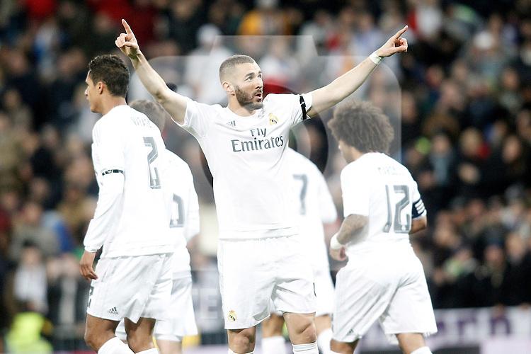 Real Madrid's Karim Benzema celebrates goal during La Liga match. March 20,2016. (ALTERPHOTOS/Acero)