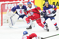 29th May 2021; Olympic Sports Centre, Riga, Latvia; IIHF World Championship Ice Hockey, Czech Republic versus Great Britain;  goalkeeper Jackson Whistle Great Britain has some traffic made by 67 Jiri Smejkal Czech Republic and 44 Sam Jones Great Britain