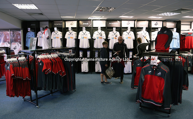 Pictured: Interior view of the store. Saturday 01 July 2017<br /> Re: The new 2017-2018 season, Swansea City FC kit has officially gone on sale at the club's Liberty Stadium shop, Wales, UK