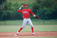Philadelphia Phillies Jonathan Guzman (8) throws to first base during an Instructional League game against the Toronto Blue Jays on September 30, 2017 at the Carpenter Complex in Clearwater, Florida.  (Mike Janes/Four Seam Images)