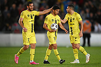 30th May 2021; Auckland, New Zealand;   Tomer Hemed, Ulises Davila and Josh Sotorio  discuss the chance on goal.<br /> Wellington Phoenix versus Perth Glory, A-League football at Eden Park.