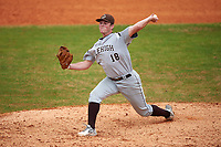 Lehigh Mountain Hawks relief pitcher Peter Moore (18) delivers a pitch during a game against the Dartmouth Big Green on March 20, 2016 at Chain of Lakes Stadium in Winter Haven, Florida.  Dartmouth defeated Lehigh 5-4.  (Mike Janes/Four Seam Images)