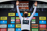 Egan Bernal (COL) Team Ineos wears the first young riders White Jersey at the end of Stage 1 of Criterium du Dauphine 2020, running 2185km from Clermont-Ferrand to Saint-Christo-en-Jarez, France. 12th August 2020.<br /> Picture: ASO/Alex Broadway | Cyclefile<br /> All photos usage must carry mandatory copyright credit (© Cyclefile | ASO/Alex Broadway)