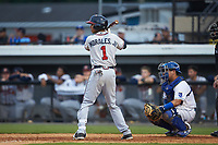Juan Morales (1) of the Danville Braves at bat against the Burlington Royals at Burlington Athletic Stadium on July 13, 2019 in Burlington, North Carolina. The Royals defeated the Braves 5-2. (Brian Westerholt/Four Seam Images)