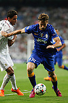 Real Madrid´s Raphael Varane (L) and Juventus´s Fernando Llorente during the Champions League semi final soccer match between Real Madrid and Juventus at Santiago Bernabeu stadium in Madrid, Spain. May 13, 2015. (ALTERPHOTOS/Victor Blanco)