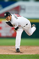 Starting pitcher Jarred Holloway (18) of the Tri-City ValleyCats in action at Joe Bruno Stadium in Troy, NY, Monday July 28, 2008  (Photo by Brian Westerholt / Four Seam Images)