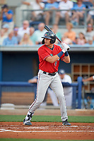 Fort Myers Miracle Trevor Larnach (9) at bat during a Florida State League game against the Charlotte Stone Crabs on April 6, 2019 at Charlotte Sports Park in Port Charlotte, Florida.  Fort Myers defeated Charlotte 7-4.  (Mike Janes/Four Seam Images)