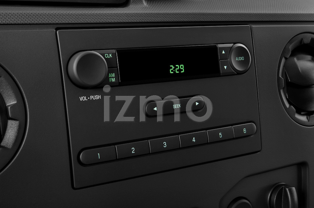 Stereo audio system close up detail view of a 2009 Ford E 150 Cargovan