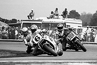 Wayne Rainey, #6 Honda, leads Eddie Lawson, #4 Yamaha, and Joe Nelson, #268 Yamaha, Daytona 200, AMA Superbikes, Daytona International Speedway, Daytona Beach, FL, March 9, 1986.(Photo by Brian Cleary/bcpix.com)