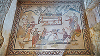 Wide picture of the Roman mosaics of the Vestibule of Eros & Pan, room no 43  at the Villa Romana del Casale, first quarter of the 4th century AD. Sicily, Italy. A UNESCO World Heritage Site.<br /> <br /> The Vestibule of Eros and Pan Roman floor mosaic at the Villa Romana del Casale depicts a scene that is intended to show how difficult it is for someone like Pan , who is ugly but has a good heart, to conquer love, represented by Eros. Between the two divinities are a palm leaf and a coin symbolising the prizes to be awarded to the winner of the contest.