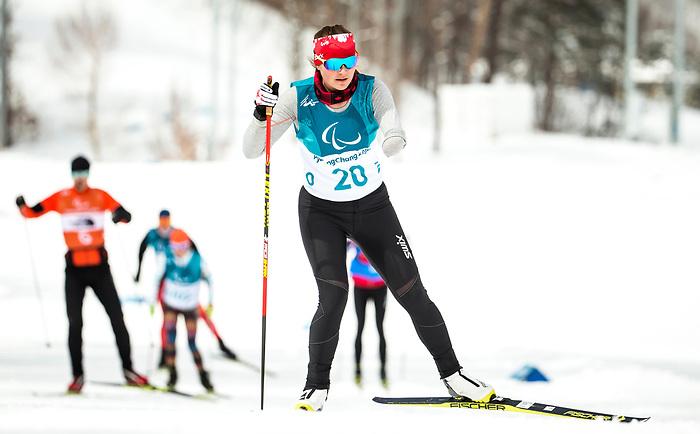 Brittany Hudak, PyeongChang 2018 - Para Nordic Skiing // Ski Paranordique.<br /> Team Canada during a biathlon/cross country training session // Équipe Canada lors d'une séance d'entraînement de biathlon / cross-country. 09/03/2018.