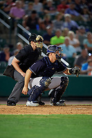 Umpire Richard Riley and Scranton/Wilkes-Barre RailRiders catcher Erik Kratz (47) during an International League game against the Rochester Red Wings on June 24, 2019 at Frontier Field in Rochester, New York.  Rochester defeated Scranton 8-6.  (Mike Janes/Four Seam Images)
