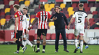 Ivan Toney of Brentford reaches out to Manager, Thomass Frank, at the final whistle during Brentford vs Rotherham United, Sky Bet EFL Championship Football at the Brentford Community Stadium on 27th April 2021