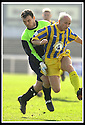 12/04/2003                   Copright Pic : James Stewart.File Name : stewart-arbroath v qots 07.ARBROATH KEEPER CRAIG HINCHCLIFFE IS BOOKED FOR THIS LATE CHALLENGE ON STEPHEN BOWIE......James Stewart Photo Agency, 19 Carronlea Drive, Falkirk. FK2 8DN      Vat Reg No. 607 6932 25.Office     : +44 (0)1324 570906     .Mobile  : +44 (0)7721 416997.Fax         :  +44 (0)1324 570906.E-mail  :  jim@jspa.co.uk.If you require further information then contact Jim Stewart on any of the numbers above.........