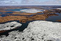 Yamal Peninsula, Russia, 08/07/2010..An aerial view of the Yamal Peninsula, part of  the Bovanenkovo gas fields still frozen in July between Yarsel and Bovanenkovo.