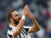 Calcio, Serie A: Juventus - Sassuolo, Torino, Allianz Stadium, 4 Febbraio 2018. <br /> Juventus' Gonzalo Higuain celebrates after scoring his second goal in the match during the Italian Serie A football match between Juventus and Sassuolo at Torino's Allianz stadium, February 4, 2018.<br /> UPDATE IMAGES PRESS/Isabella Bonotto