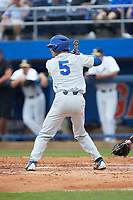 Dalton Guthrie (5) of the Florida Gators at bat against the Wake Forest Demon Deacons in the completion of Game Two of the Gainesville Super Regional of the 2017 College World Series at Alfred McKethan Stadium at Perry Field on June 12, 2017 in Gainesville, Florida. The Demon Deacons walked off the Gators 8-6 in 11 innings. (Brian Westerholt/Four Seam Images)