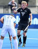 Sam Lane celebrates a goal during the Pro League Hockey match between the Blacksticks men and the Argentina, Nga Punawai, Christchurch, New Zealand, Sunday 1 March 2020. Photo: Simon Watts/www.bwmedia.co.nz