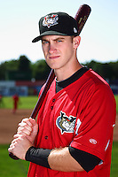 Tri-City ValleyCats first baseman Zach Johnson #32 poses for a photo before a game against the Batavia Muckdogs at Dwyer Stadium on July 15, 2011 in Batavia, New York.  Batavia defeated Tri-City 4-3.  (Mike Janes/Four Seam Images)