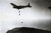 Spanish Civil War (1936-1939). Bombardment of a Heinkel He111 aircraft of the nationalist army.