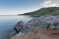 Pictured: Kerasia beach in Corfu, Greece. <br /> Re: A 27-year-old British man drowned while swimming off Kerasia beach,  in Corfu, Greece. <br /> The unidentified man, was seen swimming several hundred feet from the shore in northeastern Corfu, when he was seen struggling in the water. <br /> Witnesses said locals jumped in the sea to save him and dragged the man to shore.