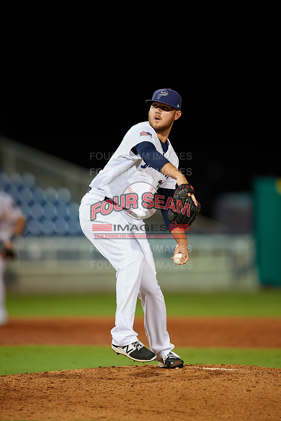 Pensacola Blue Wahoos Shrimp relief pitcher Joel Bender (27) delivers a pitch during a game against the Jacksonville Jumbo on August 15, 2018 at Blue Wahoos Stadium in Pensacola, Florida.  Jacksonville defeated Pensacola 9-2.  (Mike Janes/Four Seam Images)
