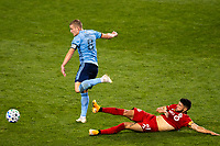 HARRISON, NJ - SEPTEMBER 23: HARRISON, NJ - Wednesday, September 23, 2020: Alexander Ring, Jonathan Osorio during a game between New York City FC and Toronto FC on September 23, 2020 at Red Bull Arena in Harrison, New Jersey during a game between Toronto FC and New York City FC at Red Bull Arena on September 23, 2020 in Harrison, New Jersey.