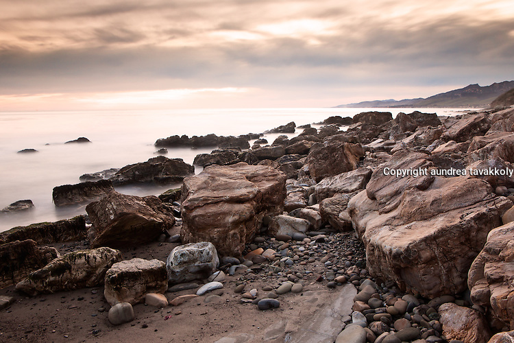 Rocks along the gaviota coast, sepia