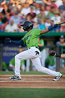 Kane County Cougars Tra Holmes (3) at bat during a Midwest League game against the Dayton Dragons on July 20, 2019 at Northwestern Medicine Field in Geneva, Illinois.  Dayton defeated Kane County 1-0.  (Mike Janes/Four Seam Images)