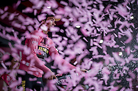Maglia Rosa / overall leader Primoz Roglic (SVK/Jumbo-Visma) celebrating his overall lead on the podium after stage 4<br /> <br /> Stage 4: Orbetello to Frascati (228km)<br /> 102nd Giro d'Italia 2019<br /> <br /> ©kramon