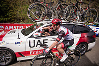 VERY sticky bottle up the Cauberg for Jan Polanc (SVN/UAE-Emirates)<br /> <br /> 55th Amstel Gold Race 2021 (1.UWT)<br /> 1 day race from Valkenburg to Berg en Terblijt; raced on closed circuit (NED/217km)<br /> <br /> ©kramon
