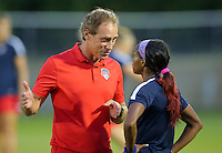 Boyds, MD - Wednesday Sept. 07, 2016: Jim Gabarra, Crystal Dunn during a regular season National Women's Soccer League (NWSL) match between the Washington Spirit and the Seattle Reign FC at Maureen Hendricks Field, Maryland SoccerPlex.