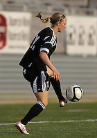 BOYDS, MARYLAND-JULY 07,2012:  Becky Sauerbrunn (11) of DC United Women makes a pass against the Dayton Dutch Lions during a W League game at Maryland Soccerplex, in Boyds, Maryland. DC United women won 4-1.
