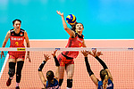 Yuanyuan Wang of China attacks during the FIVB Volleyball Nations League Hong Kong match between China and Argentina on May 29, 2018 in Hong Kong, Hong Kong. Photo by Marcio Rodrigo Machado / Power Sport Images