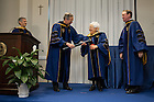 Jan. 27, 2014; University of Notre Dame President Rev. John Jenkins, C.S.C. and Board of Trustees Chairman Richard Notebaert confer an honorary Doctor of Laws degree on Maria Voce at the Notre Dame Rome Centre.<br /> <br /> Photo by Matt Cashore/University of Notre Dame
