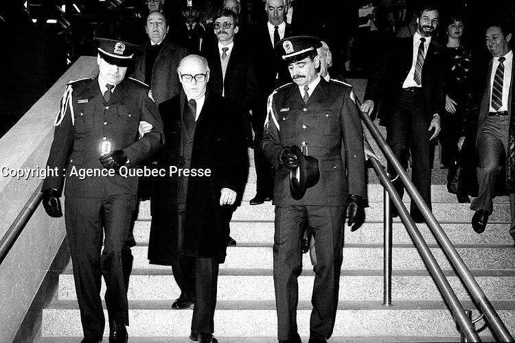 January 9, 1984 File Photo -  Jean Drapeau, Montreal Mayor attend the inauguration of the 3 new metro (subway) station : <br /> Namur, De La Savane and Du College.