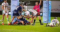20th November 2020; AJ Bell Stadium, Salford, Lancashire, England; English Premiership Rugby, Sale Sharks versus Northampton Saints;  AJ MacGinty of Sale Sharks scores Sale's fourth and bonus point try for Sale in the 60th minute to make the score 27-13