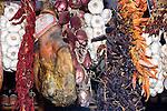 Hanging Garlic, Parma Ham, Pepper, Godo Restaurant, Florence, Italy