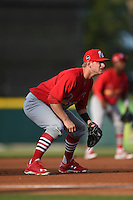 Palm Beach Cardinals third baseman Bruce Caldwell (5) during a game against the Lakeland Flying Tigers on April 13, 2015 at Joker Marchant Stadium in Lakeland, Florida.  Palm Beach defeated Lakeland 4-0.  (Mike Janes/Four Seam Images)