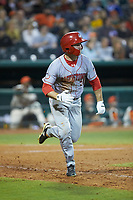 Gage Canning (7) of the Hagerstown Suns hustles down the first base line against the Greensboro Grasshoppers at First National Bank Field on April 6, 2019 in Greensboro, North Carolina. The Suns defeated the Grasshoppers 6-5. (Brian Westerholt/Four Seam Images)