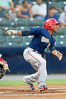 Josh Johnson #15 of the Harrisburg Senators follows through on his swing against the Richmond Flying Squirrels in game one of a double-header at The Diamond on July 22, 2011 in Richmond, Virginia.  The Squirrels defeated the Senators 3-1.   (Brian Westerholt / Four Seam Images)