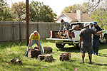 Volunteers bringing in stumps that were collected from all around the property (trees removed by previous property owners), and stumps collected from the neighborhood's heavy brush pick up piles