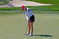 5th September 2021; Toledo, Ohio, USA;  Jennifer Kupcho of Team USA makes her putt on the 17th hole to win her match during the morning Four-Ball Pairings during the Solheim Cup on September 5th