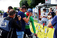 1st July 2021; Chateauroux, France;  PEETERS Wilfried (BEL) Sports Director of DECEUNINCK - QUICK-STEP congratulates CAVENDISH Mark (GBR) of DECEUNINCK - QUICK-STEP after stage 6 of the 108th edition of the 2021 Tour de France cycling race, a stage of 160,6 kms between Tours and Chateauroux on July 1