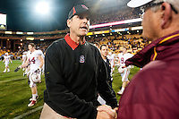 TEMPE, AZ - November 13, 2010: Head Coach Jim Harbaugh during a football game at Arizona State University in Tempe, Arizona. Stanford won 17-13.