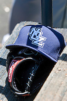 New Orleans Zephyrs hat in the dugout during the Pacific Coast League baseball game against the Round Rock Express on May 4, 2014 at the Dell Diamond in Round Rock, Texas. The Express defeated the Zephyrs 15-12. (Andrew Woolley/Four Seam Images)
