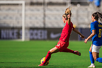 ORLANDO, FL - FEBRUARY 24: Janine Beckie #16 of the CANWNT kicks the ball during a game between Brazil and Canada at Exploria Stadium on February 24, 2021 in Orlando, Florida.