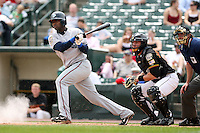 May 14th 2008:  Third baseman Yurendell de Caster (11) of the Columbus Clippers, Class-AAA affiliate of the Washington Nationals, during a game at Frontier Field in Rochester, NY.  Photo by Mike Janes/Four Seam Images