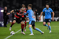 1st May 2021; Bankwest Stadium, Parramatta, New South Wales, Australia; A League Football, Western Sydney Wanderers versus Sydney FC; James Troisi of Western Sydney Wanderers keeps the ball in play along the wing as Joel King of Sydney challenges