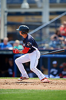 Reading Fightin Phils center fielder Zach Coppola (4) follows through on a swing during the first game of a doubleheader against the Portland Sea Dogs on May 15, 2018 at FirstEnergy Stadium in Reading, Pennsylvania.  Portland defeated Reading 8-4.  (Mike Janes/Four Seam Images)